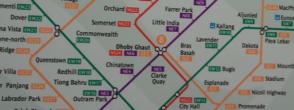 CC line, EW line, NS line, NE line (les lignes de métro à Singapour)