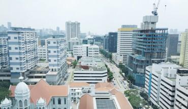 Vue de Singapour depuis le National Librairy building