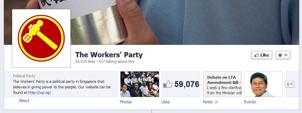 Près de 60,000 like pour la page Facebook du Workers' Party de Singapore
