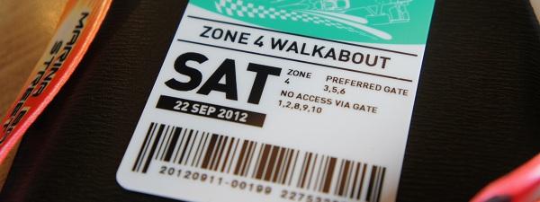 Grand prix de F1 de Singapour - Pass pour rentrer sur le site (Zone 4)