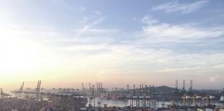 Le port de Singapour le matin