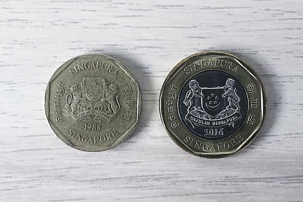 1$ piece a singapour dollar
