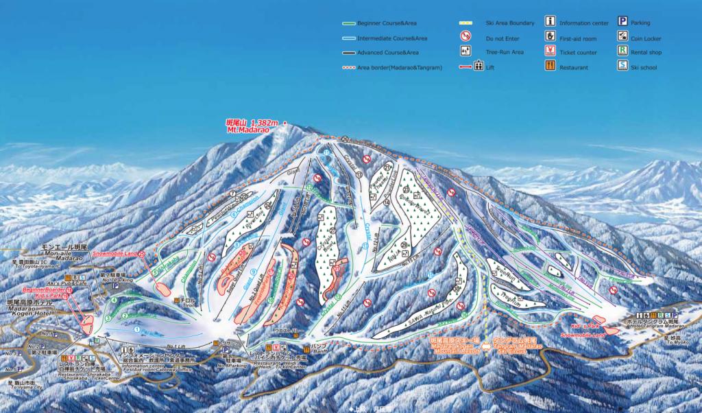 Plan des pistes de Madarao Kogen Japon